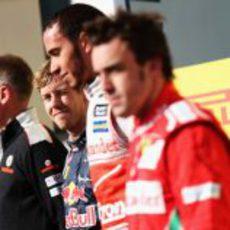 Tres grandes pilotos en el podio del GP de Estados Unidos 2012