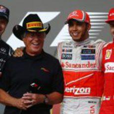 Vettel, Andretti, Hamilton y Alonso en el podio de Austin