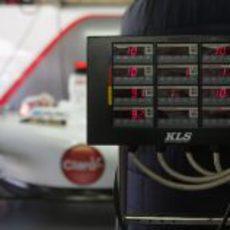 Las temperaturas de los neumáticos en los calentadores