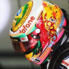 Casco especial de Lewis Hamilton para Brasil 2012