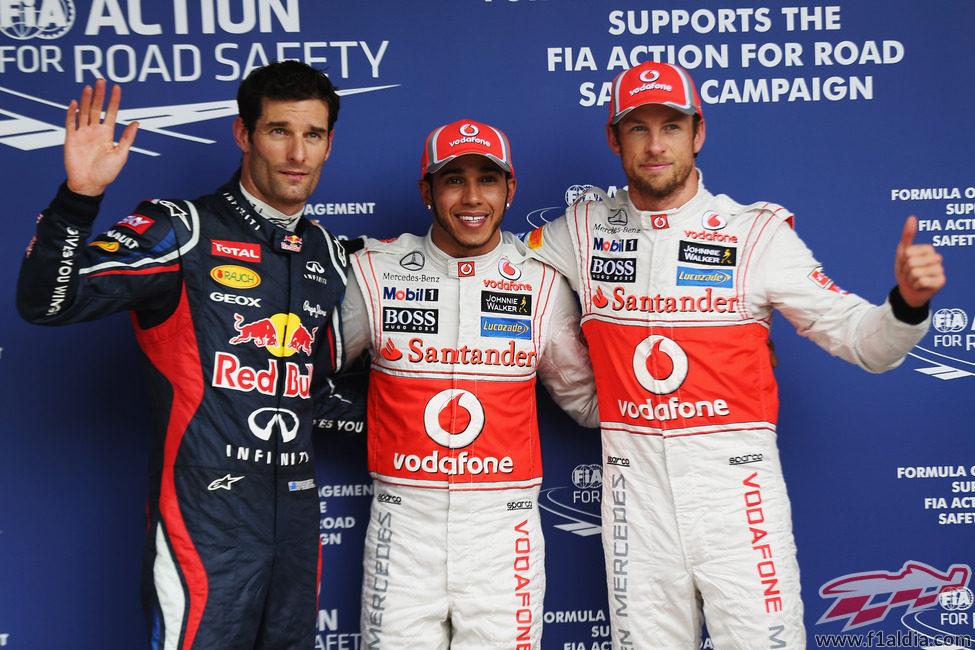 Hamilton, Button y Webber, los más rápidos el sábado en Interlagos