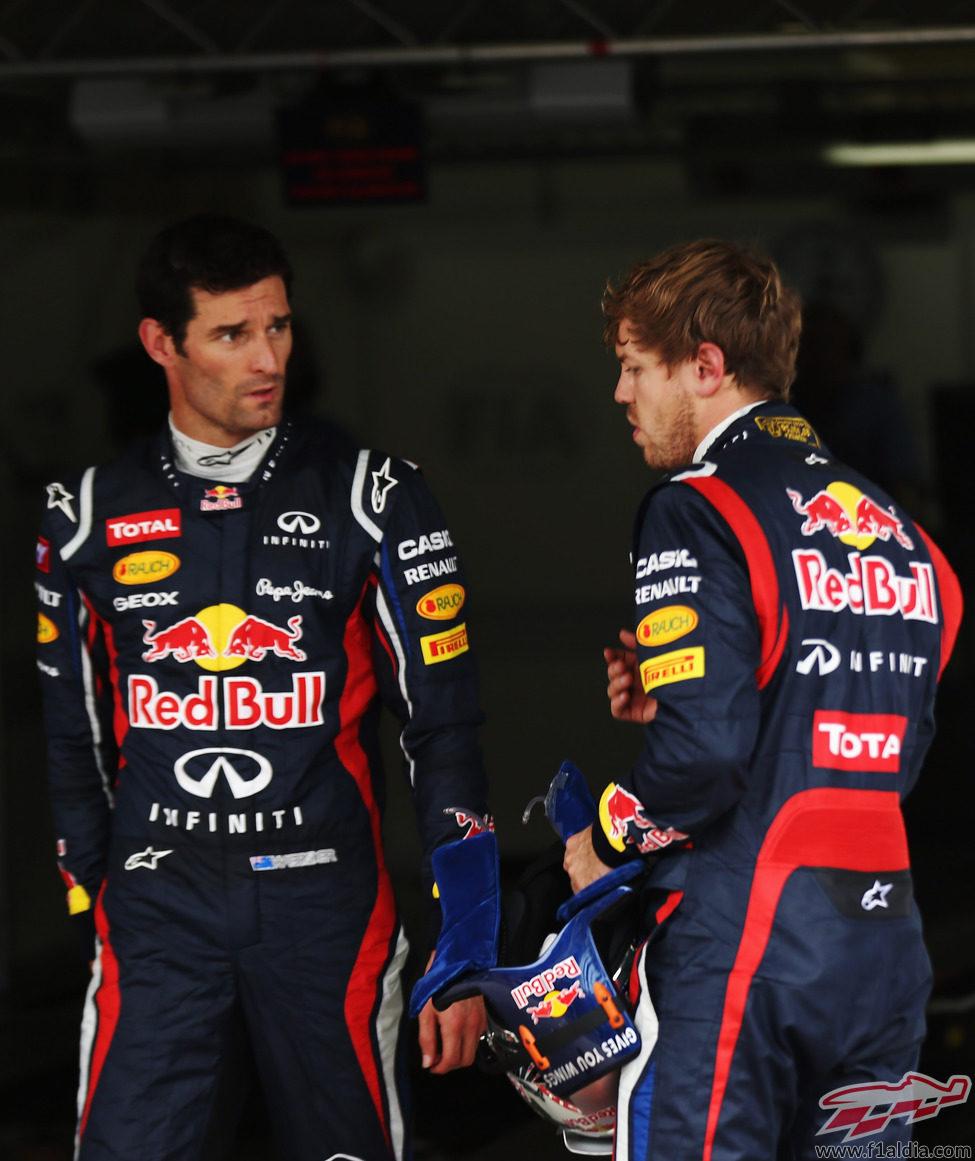 Sebastian Vettel y Mark Webber juntos tras la clasificación del GP de Brasil 2012