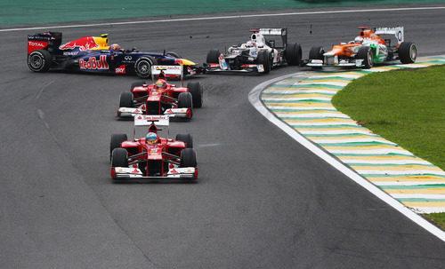 Trompo de Webber en la carrera de Brasil 2012