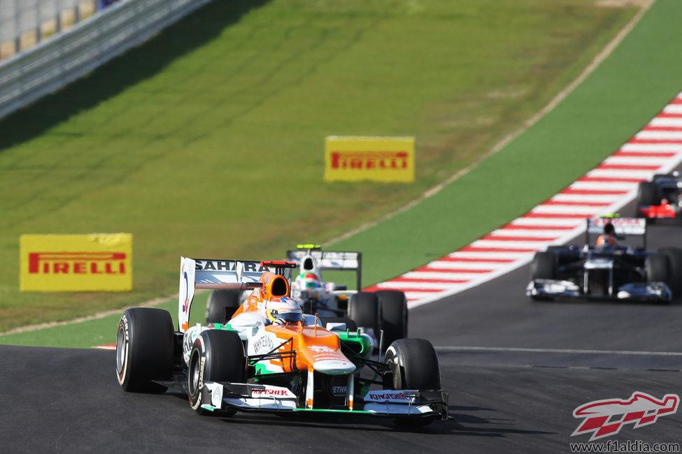 Paul di Resta rueda con el compuesto medio en el GP de Estados Unidos 2012