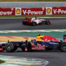 Trompo de Mark Webber en la carrera de Interlagos