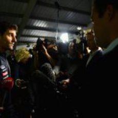 Webber atiende a los periodistas en Milton Keynes