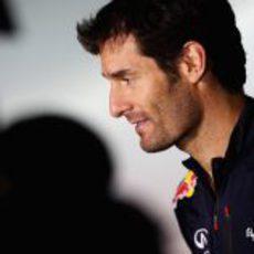 Mark Webber en la sede de Red Bull tras el final de temporada 2012