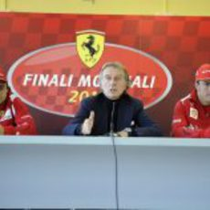 Felipe Massa, Luca di Montezemolo y Fernando Alonso en las Finales Mundiales de Ferrari 2012
