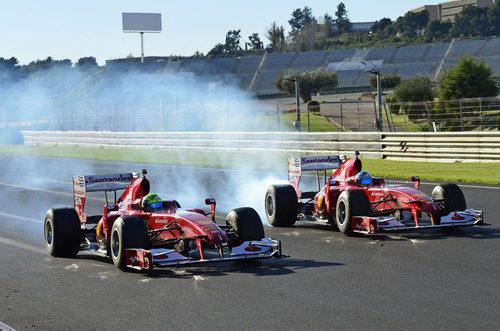 Felipe Massa y Fernando Alonso en las Finales Mundiales de Ferrari en Cheste