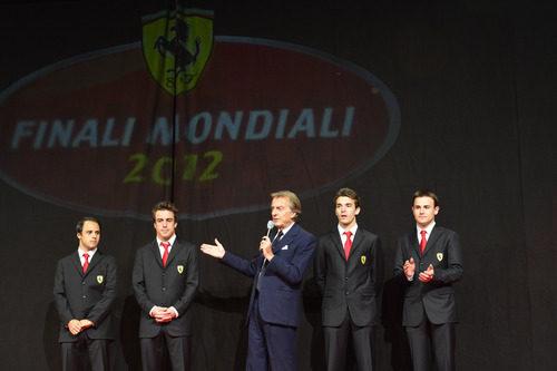 Massa, Alonso, Montezemolo, Bianchi y Rigon en la cena de gala de Ferrari
