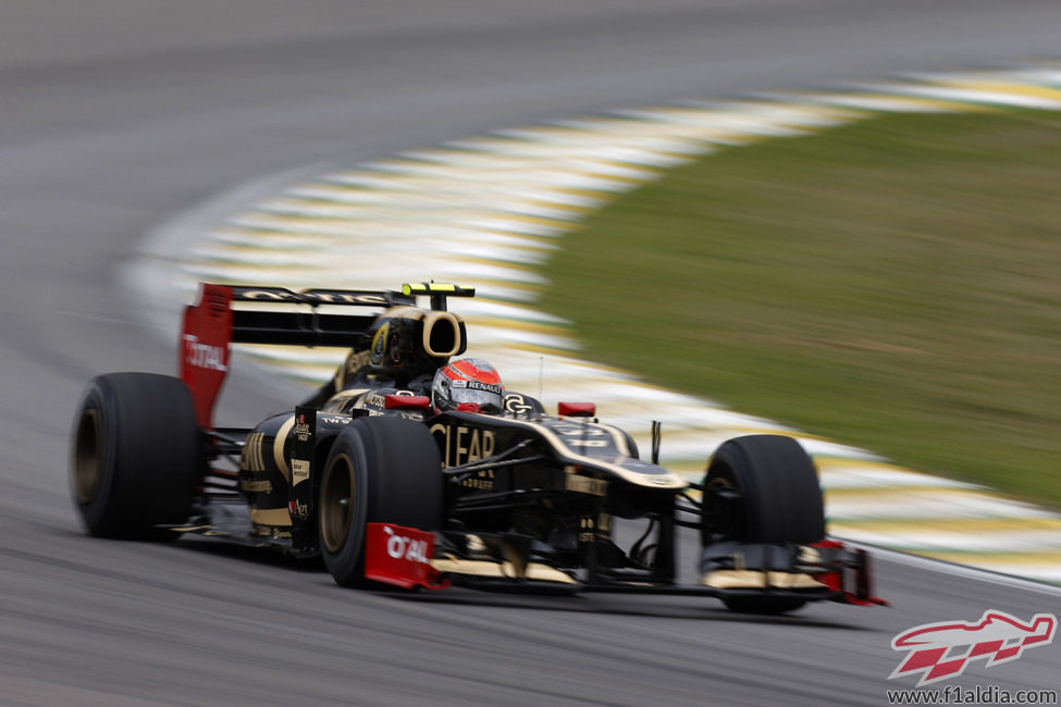 Romain Grosjean cayó en Q1 en Interlagos