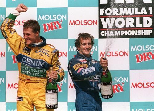 Michael Schumacher y Alain Prost en el podio