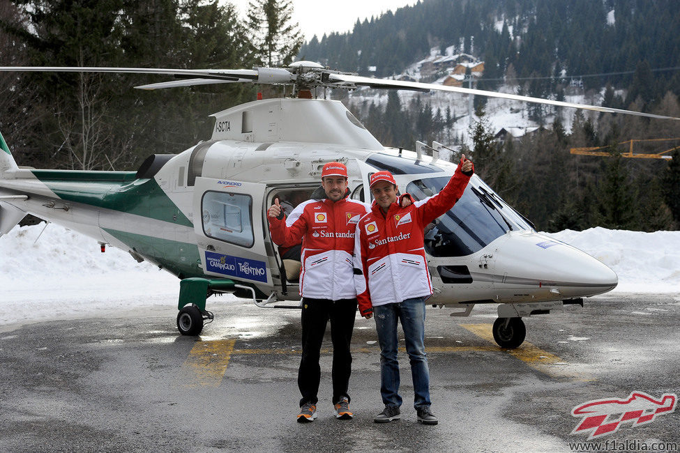 Fernando Alonso y Felipe Massa llegan a Madonna di Campiglio