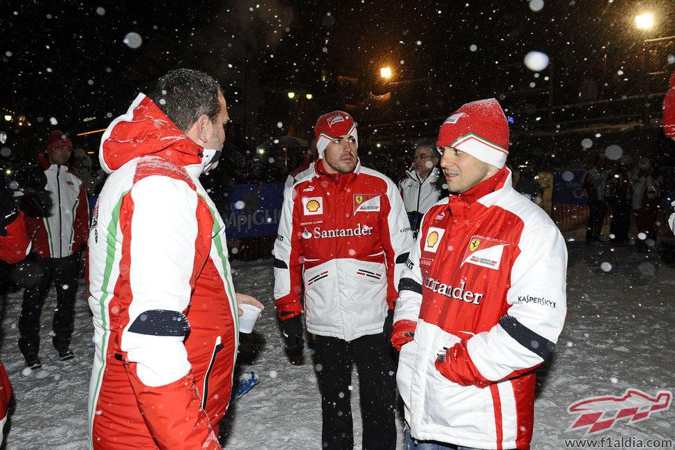 Felipe Massa y Fernando Alonso en la noche de Madonna