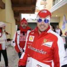 Fernando Alonso contento en la concentración de Ferrari