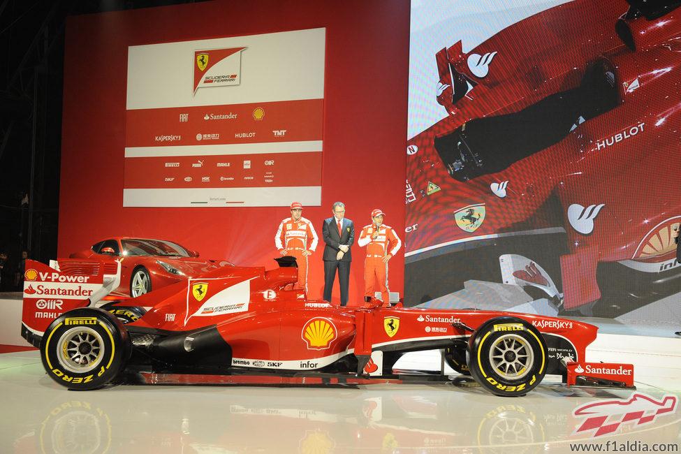 Alonso, Domenicali, Massa y el nuevo Ferrari F138