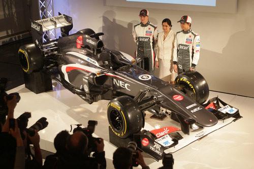 Monisha Kaltenborn, Nico Hülkenberg, Esteban Gutiérrez y el Sauber C32