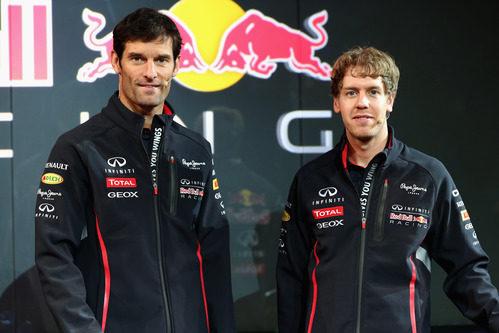 Mark Webber y Sebastian Vettel en la presentación del Red Bull RB9