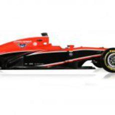 MR02, el nuevo Marussia de 2013 en vista lateral