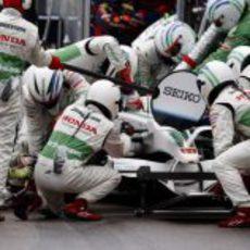 Rubens Barrichello en boxes