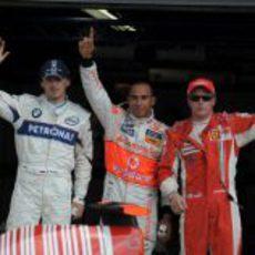 Kubica, Hamilton y Raikkonen