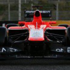 Vista frontal del nuevo Marussia MR02 en Jerez