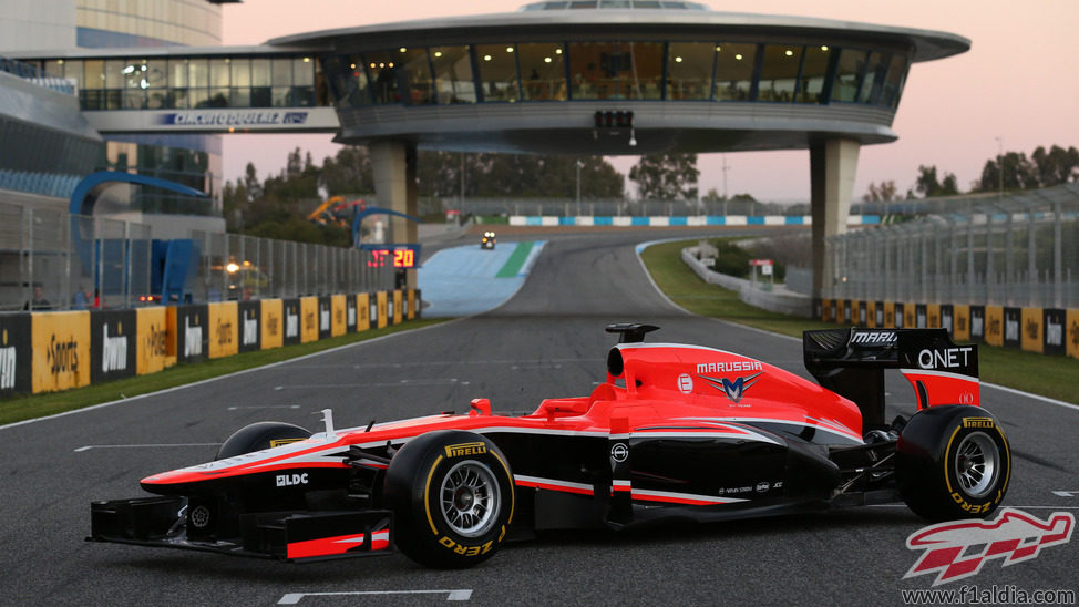El Marussia MR02 de 2013 fue presentado en el Circuito de Jerez