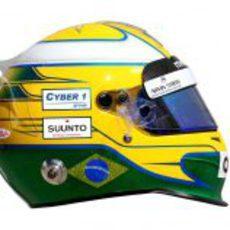 Vista lateral del casco de Luiz Razia