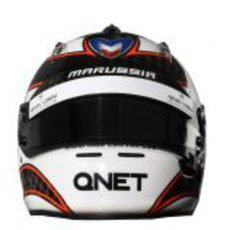 Vista frontal del casco de Max Chilton
