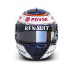 Vista frontal del casco de Valtteri Bottas