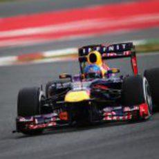 Sebastian Vettel en el último sector de Montmeló