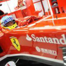 Fernando Alonso espera en el box a que se abra el pitlane