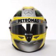 Plano frontal del casco de Nico Rosberg