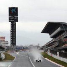 Lluvia en la primera jornada de test en el Circuit de Catalunya