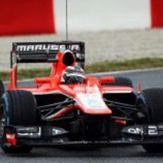 Max Chilton con neumáticos de lluvia en su Marussia