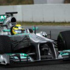 Nico Rosberg se encargó de pilotar el W04 el segundo día de test