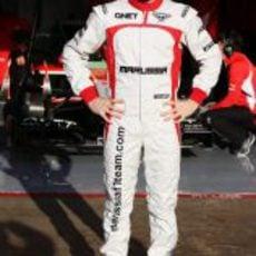 Jules Bianchi vestido con los colores de Marussia en Barcelona