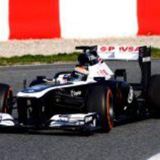 Pastor Maldonado con neumáticos duros en su Williams FW35