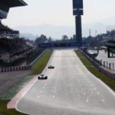 Desnivel en la recta del Circuit de Catalunya