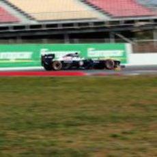 Pastor Maldonado en el último sector del Circuit de Catalunya