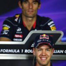 Los compañeros de Red Bull en rueda de prensa