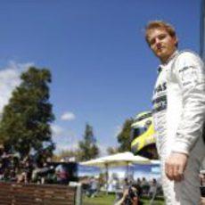 Nico Rosberg en la zona de fotógrafos
