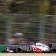 El MP4-28 de Jenson Button no empezó bien el año