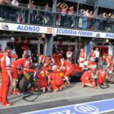 Cambio de neumáticos de Fernando Alonso