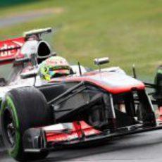 Sergio Pérez rodando con neumáticos de mojado