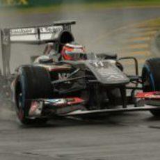 Nico Hülkenberg rodando con neumáticos de lluvia