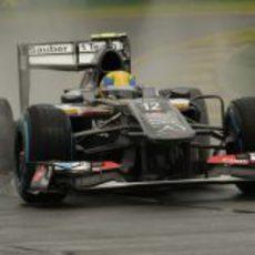 Esteban Gutiérrez rueda bajo la lluvia de Melbourne