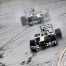 Lewis Hamilton y Nico Rosberg en la Q1 de Australia