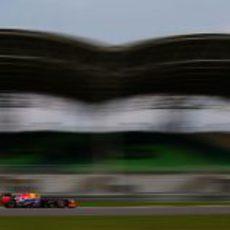Mark Webber con las gradas del Circuito de Sepang al fondo