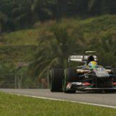 Esteban Gutiérrez rueda con el verdoso paisaje de Kuala Lumpur